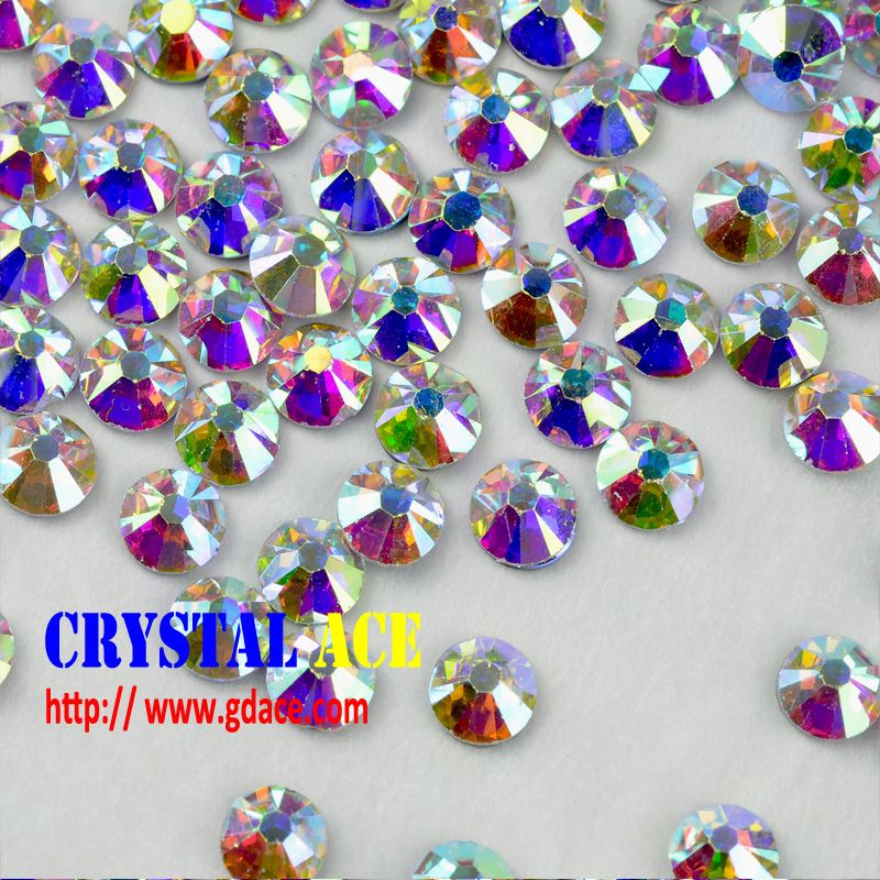 Factory supply crystal AB hotfix rhinestones xilion rose cut, flatback iron on crystal AB strass