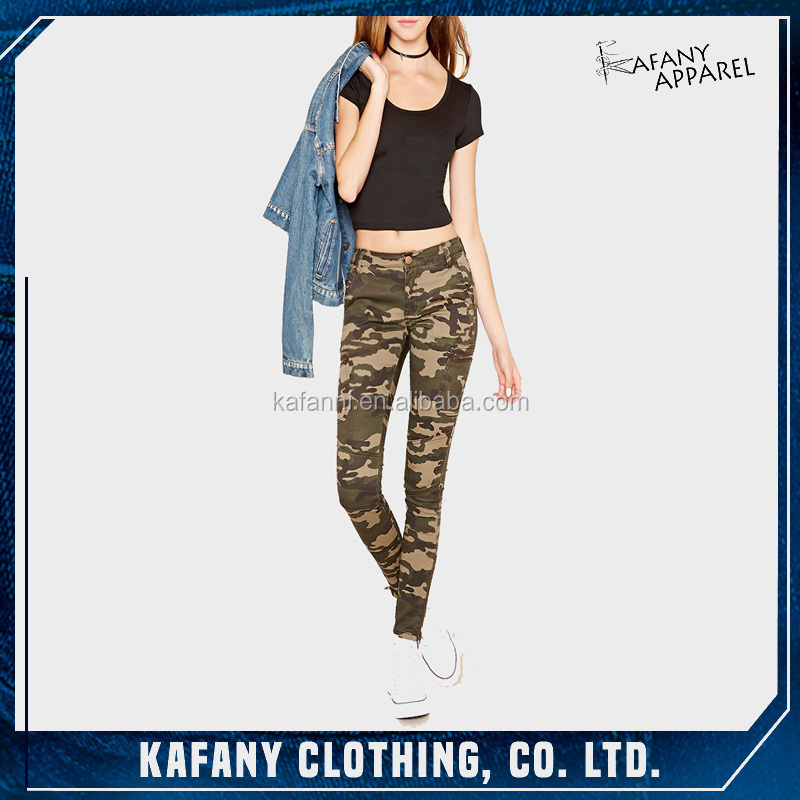 Camouflage Handsome Skinny Girlfriend Jeans Latest Style