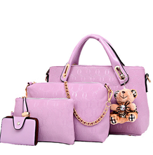 Lastest Design Lavender European Shoulder Bag For Women Wholesale Five Pieces Cheap Leather Messenger Bruin Pu Handbag
