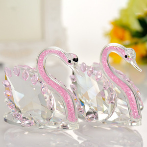 Best seller crystal couple swan for wedding gift decoration