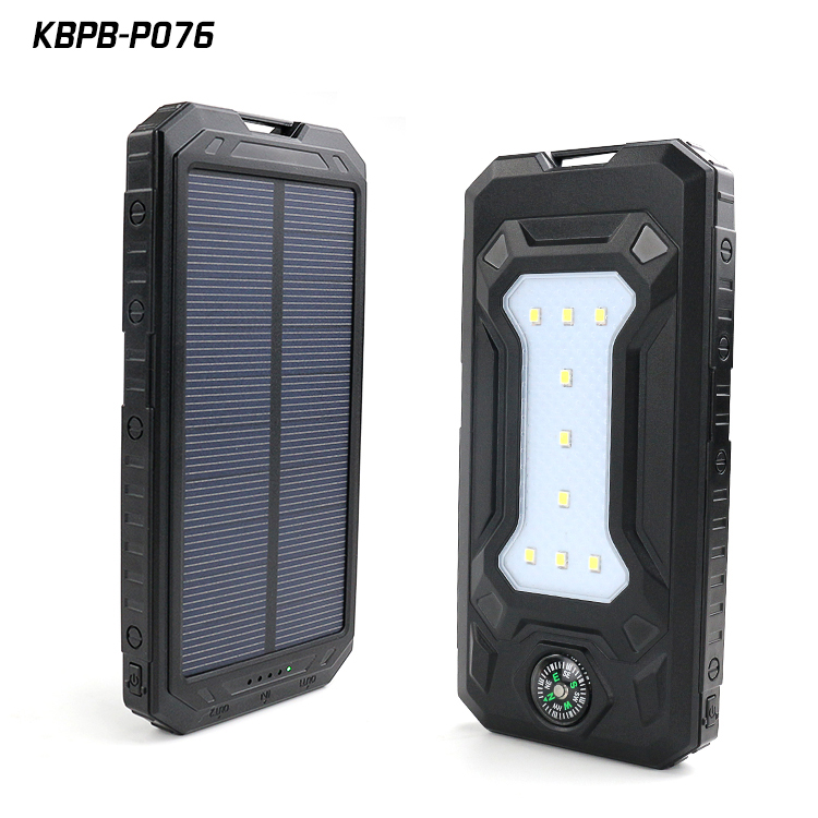 Solar Power bank P076 Portable Charger Battery 10000mah Power Pack For Samsung