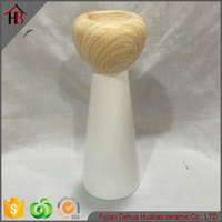 ceramic candle holder wooden finish desgin