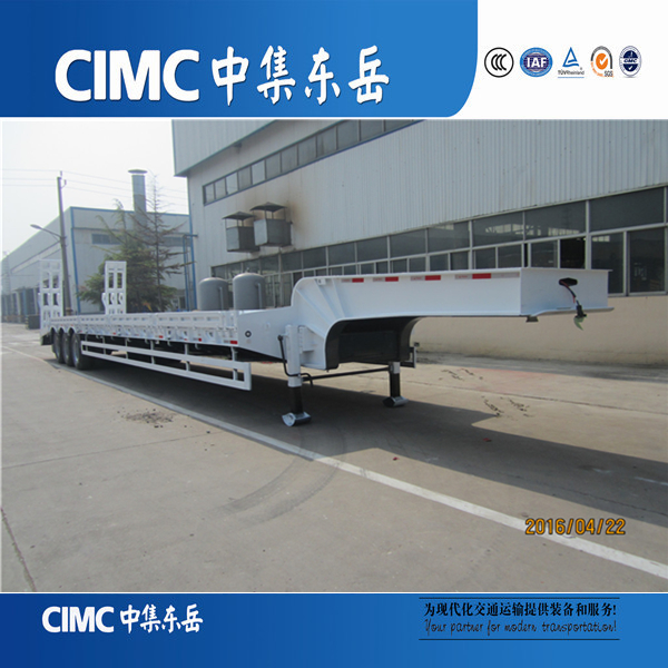 CIMC brand heavy equipments transport 40 ton low bed trailer export to Myanmar