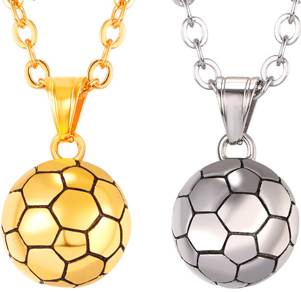 Coolfel Stainless Steel Football Pattern Pendant & Link Chain <strong>Necklace</strong> For Men/Women Sport Boy Soccer Fan Hip Hop Jewelry