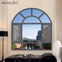 CE certificate fancy aluminum half round casement arch windows with reflective glass