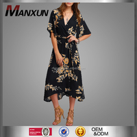 Latest Design Cheap Women Model Elegant Floral Printed Chiffon Dress Fashion Casual Female Office Printing Dresses