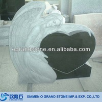 Hand Carved Black Cheap Angel Tombstone