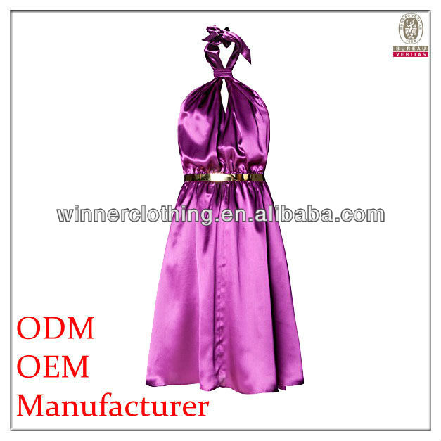 New Designs Stylish Purple Garment Embellished with Golden Belt Sexy Shiny Short Cocktail Dress