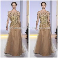 Stunning Champagne Gold Beaded A-Line Formal Evening Gown 2014 Jewel Neck Sheer Long Sleeve Long Dress NB031