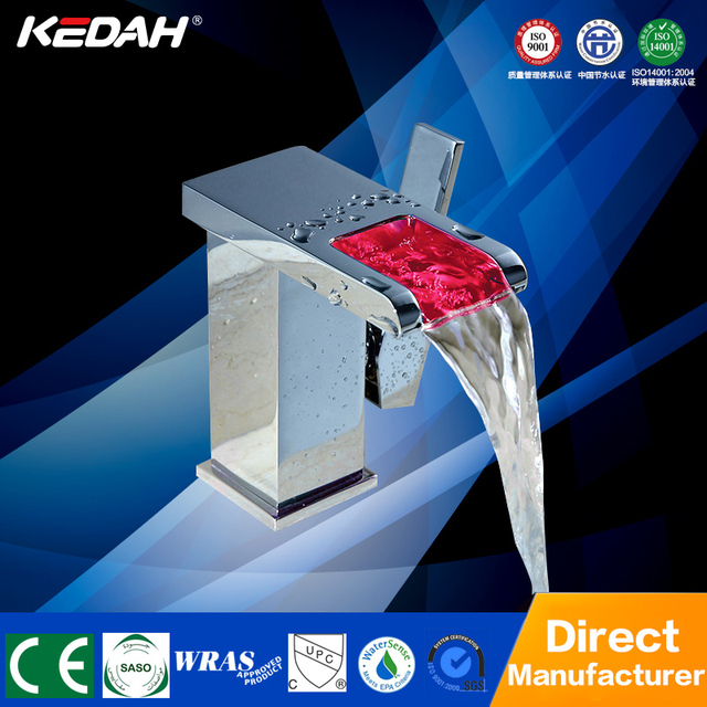 New popular Pink led basin faucet chrome plating single handle square led bath mixer taps for hotel