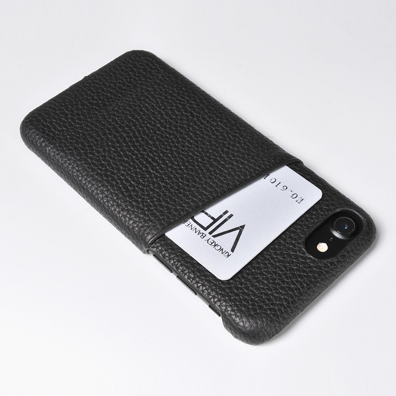 Top Quality Black Full Grain Leather Phone Case
