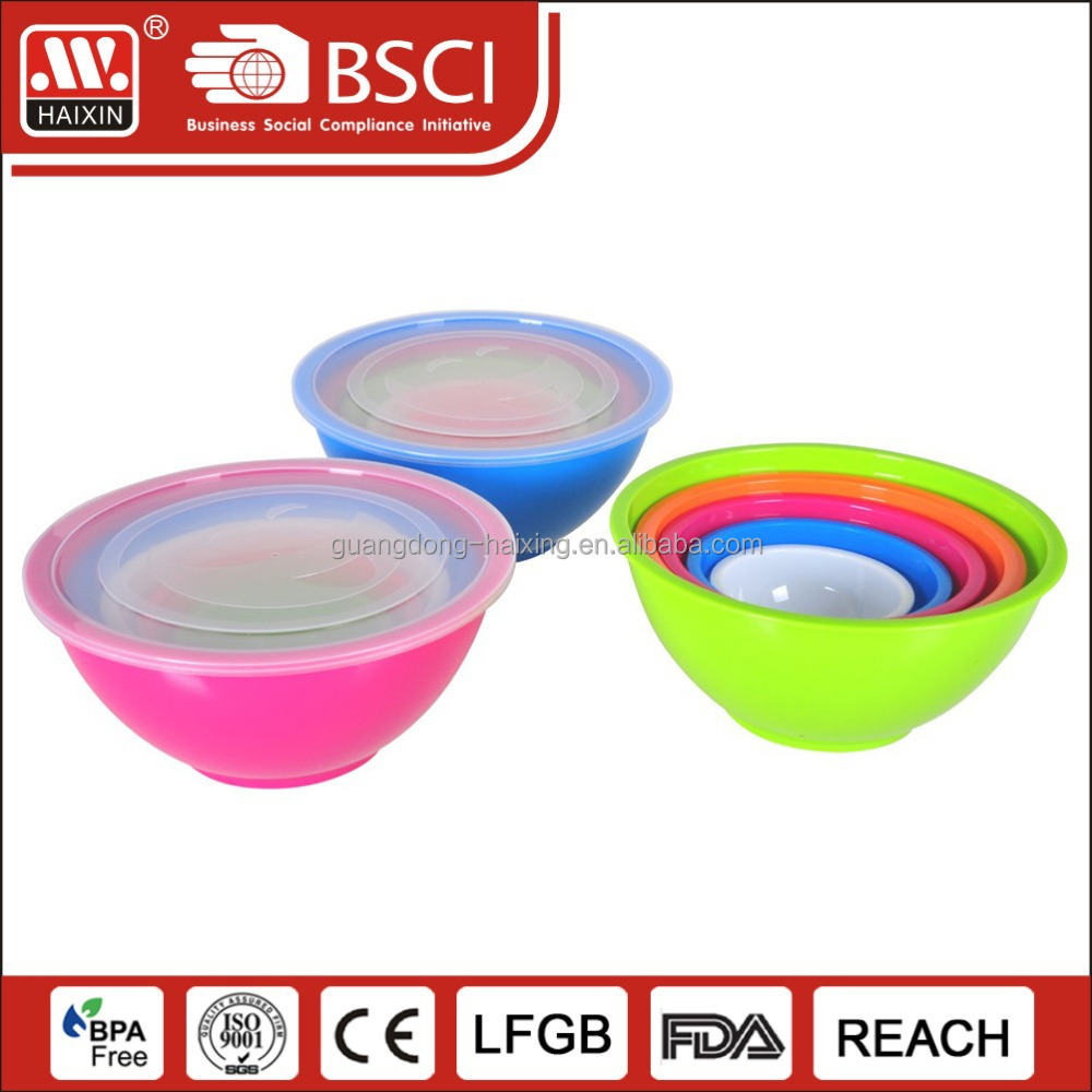 5PCS Stocked Food and vegetable storage plastic salad bowl with lid and handle