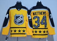 Toronto Maple Leaf #34 Auston Matthews 2017 NHL All Star Yellow Ice Hockey Jersey