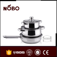NOBO 3pcs eco-friendly stainless steel cooking pots and pans sets with high quality