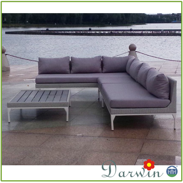 Aluminum Outdoor PE Rattan Patio Sectional Floor Sofa Set Lounge Used Wicker Furniture