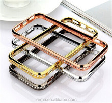 New Product Crystal Rhinestone Diamond Bling Metal Case Cover Bumper for Iphone 4 4s