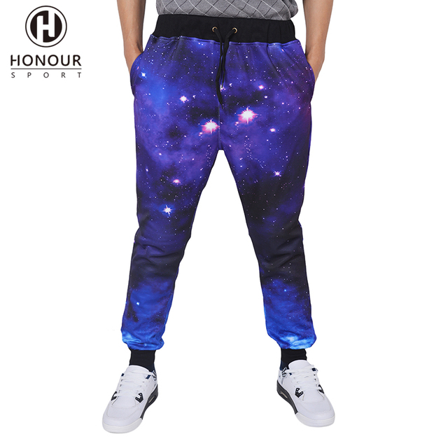 Hot Sale Fashion Men's Custom Causal 3D Galaxy Printed Sports Fitness Jogger Pants