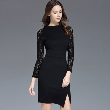 bulk wholesale clothing 2017 spring high end fit lace spliced bodycon pencil cocktail dress