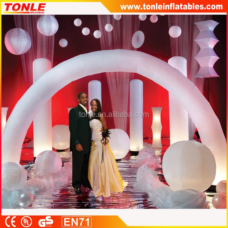 Custom Party Decorations Ballons, White wedding Inflatable Arch for sale