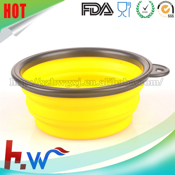 Food Grade Folding Colorful Silicone Pet Dog Bowl For Travel