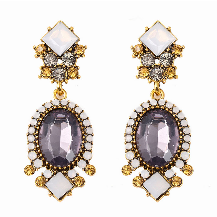 Export Japan <strong>Alloy</strong> with gold plated hot sale Amazon Ebay Wish Big purple crystal 2016 South America jewelry earrings