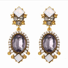 Export Japan Alloy with gold plated hot sale Amazon Ebay Wish Big purple crystal 2016 South America jewelry earrings