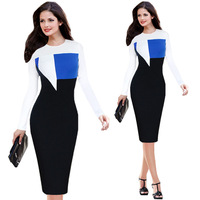 Elegant model dress for office O neck long sleeve winter dress colors combination office dresses H073