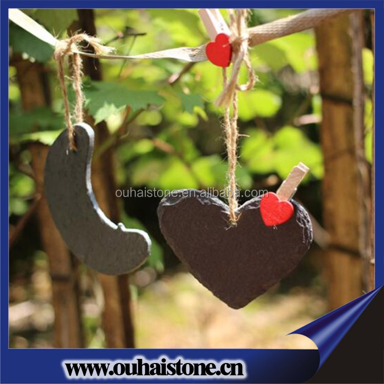Romantic heart shape natural slate flower tag labels plant