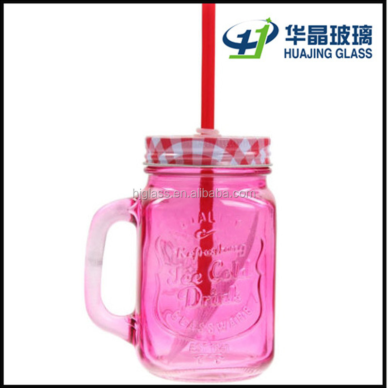 rose red colour 450ml 16oz ice cold glass jar mason with lids and straws