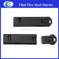 Hiking Gadgets Slim Flat Whistle with Survival Flint & Striker