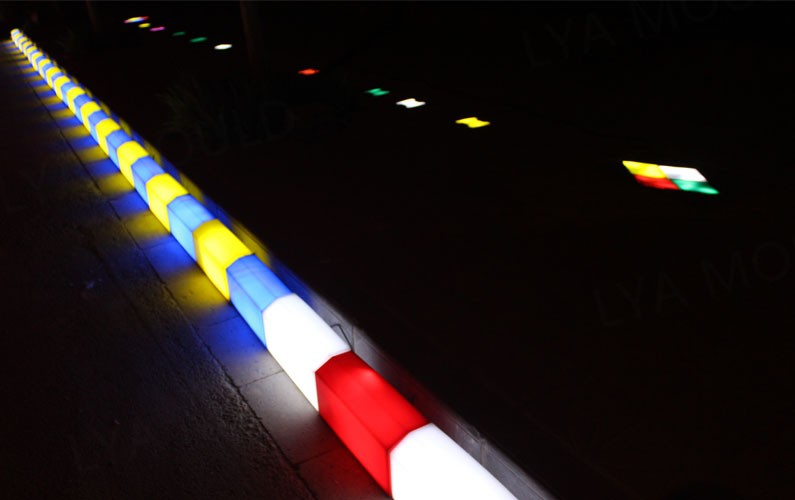 can light 50000 hours road side curb stone colors led curb stone