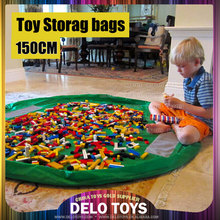 "Large 60"" Baby Kids Play Floor Mat Toy Storage Bag Organizer Quickly Easily Folds Up, Perfect for Building Blocks DE00019"