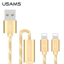 USAMS 2 in 1 Nylon Braided USB Data Charger Cable For Iphone Double Data Charging Cable For Iphone HD-587