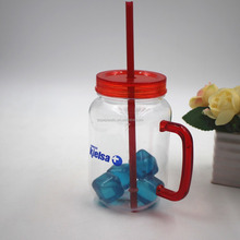 Mason Jar with handle and Plastic Straws. 16 Oz