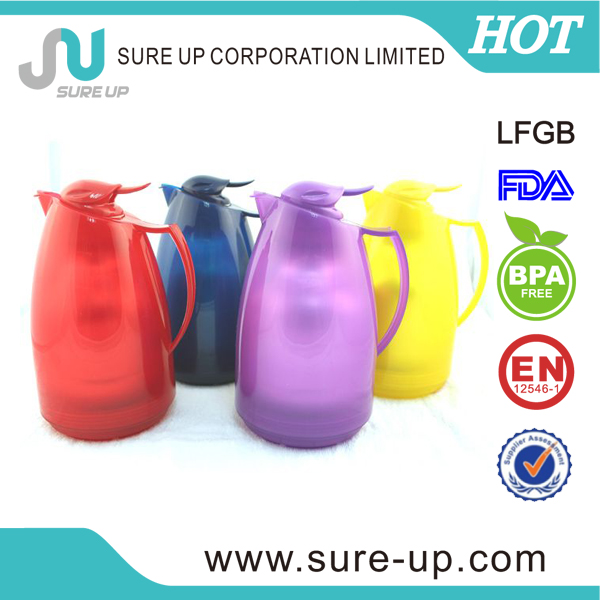 Promotion drinkware double walled glass carafe 1 liter with pp outer body 1.0l(JGAH)