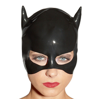 2015 new arrive fashion Black latex rubber mask for catwomen fetish party hood gummi 0.4mm plus size Hot sale