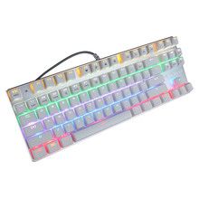 87 Pcs Professional USB Interface Mechanical Keyboard Mixed Color Light Backlight White