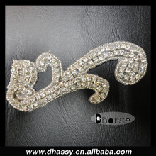 Wholesale beaded and stone applique designs crystal appliques for dresses