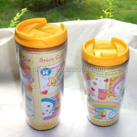 BPA free double wall plastic changeable paper insert coffee mug