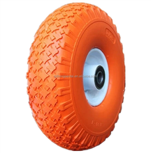 non-puncture flat free PU foam filled solid wheel 4.00-4 for hand trolley and wheelbarrows