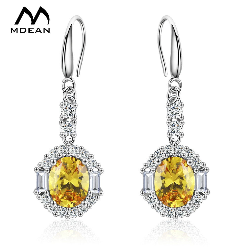 White Gold Color Drop Earrings for Women Yellow AAA Zircon <strong>A001</strong>