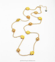 18K Gold Jewelry Yellow Daisy Flower Charms Long Chain Necklace N2386