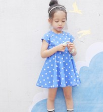 Korean style cooton dot pritning flower girl dress of 7years old