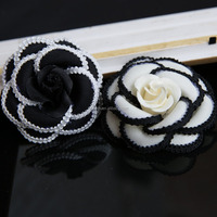 Handmade Fashion Camellia Fabric Flower Artificial Decorative Flowers in wholesale