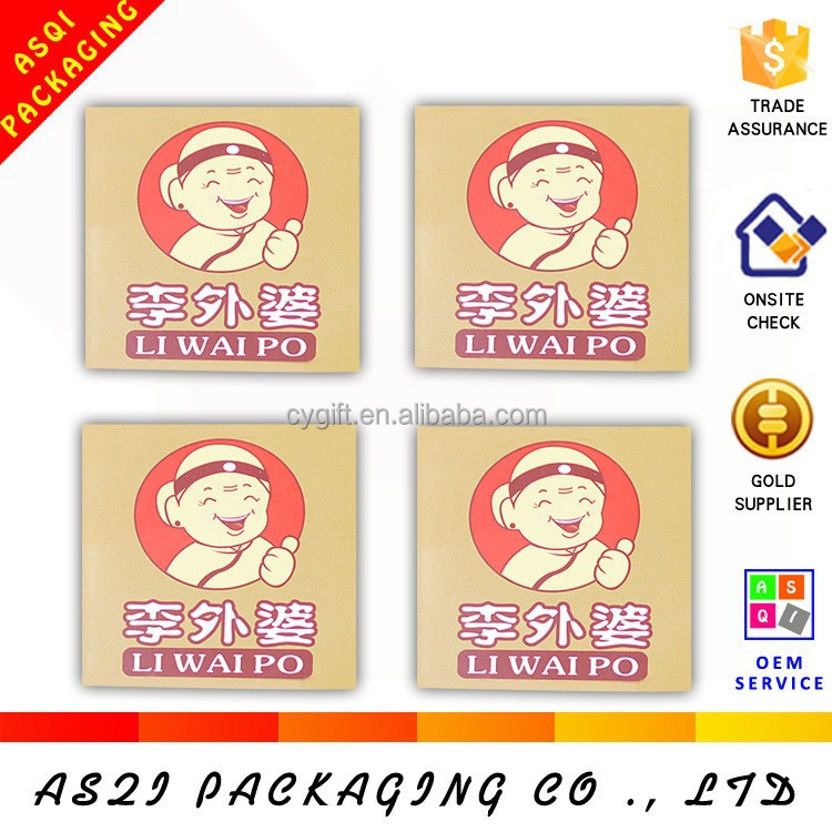 customize 4x4 cm square good stickness paper food sticker label