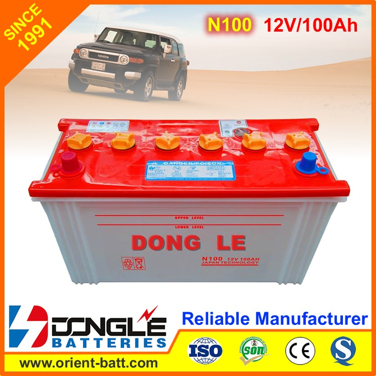 N100 12V 100Ah Super Power Auto Starting dry charged car battery