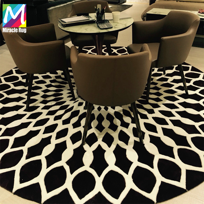 Popular 100% Wool Latest Modern Geometry Pattern Handmade Round Carpet Custom Hand Made Circular Silk Rugs for Living Room