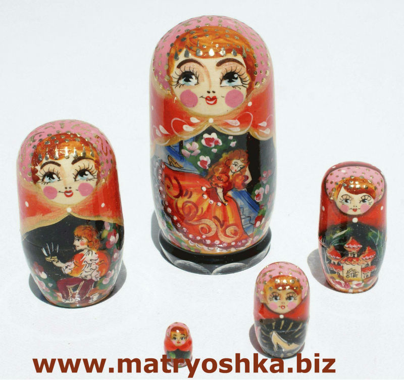 Cinderella Zolushka Girl Matryoshka Babushka Nesting Stacking Traditional Russian Wooden Doll in Doll Hand Carved of Wood Paint