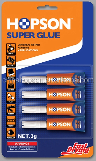 Hopson Hot Selling 4pcs/card Aluminum Tube Super Adhesive Glue