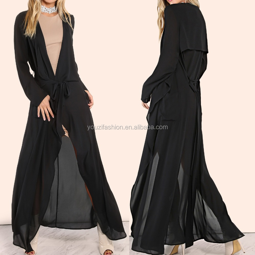 Chiffon duster coat with waterfall lapel black maxi duster coat